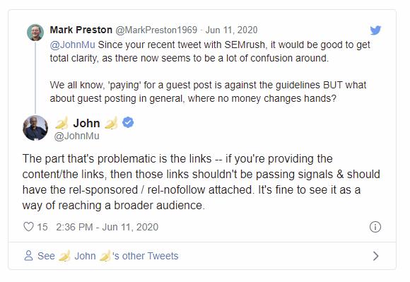 John Mueller tweet over gastbloggen