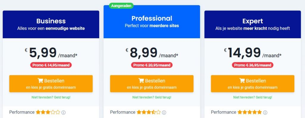 Combell webhosting prijzen